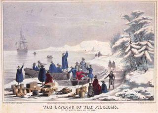 Blog. Antique postcard. Pilgrims%20landing_1