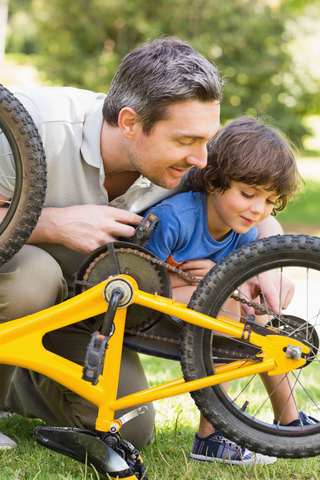 Blog. Dad. son. fix bike. 9.13