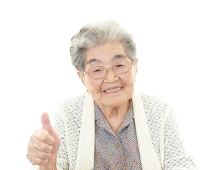 Blog. Happy old woman. 10.14