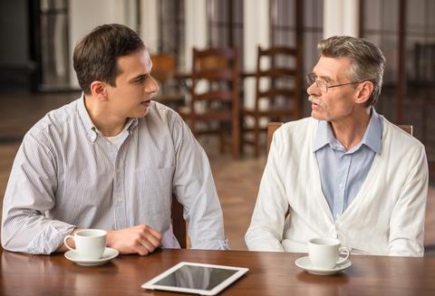 Blog. 2 Men talking. Focus on joy. 5.15