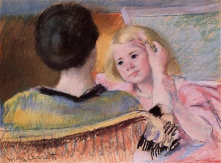 Blog. Mother combing girls hair. Cassatt. 5.15